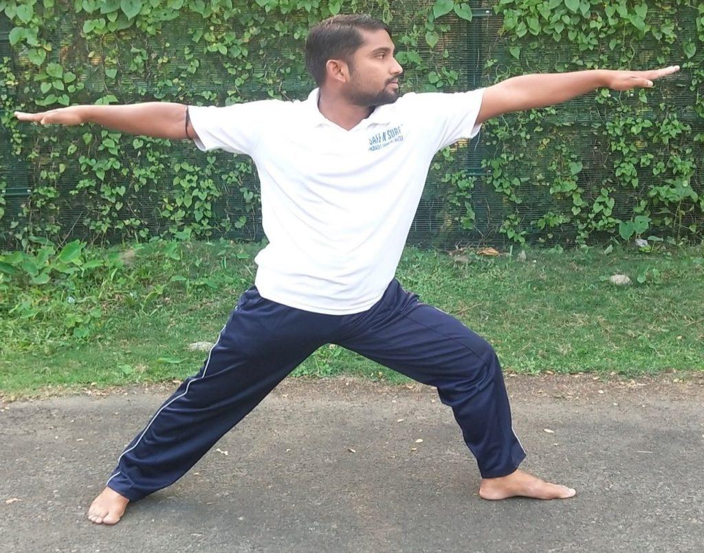 Virabhadrasana II Beginner Yoga Pose for home