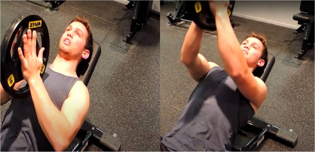 incline bench press with weight plates